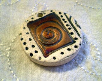 Spiral Raku Bead, Clay Bead, Focal Bead, Ceramic Bead, Spiral Bead, Handmade Beads (A25)