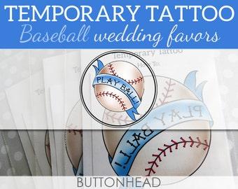12 Baseball Wedding Favors - Baseball Party Favors - Play Ball - Temporary Tattoos