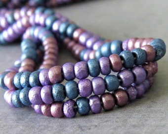 Pastel Etched Mix Czech Glass 8/0 Seed Bead : 20 inch Strand Size 8 Metallic Seed Bead