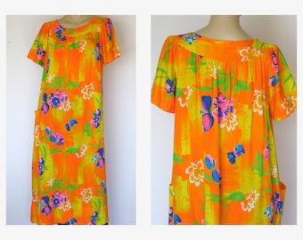 Orange Hawaiian Floral Maxi dress 70s Vintage Flutter Sleeves Hostess Dress XL