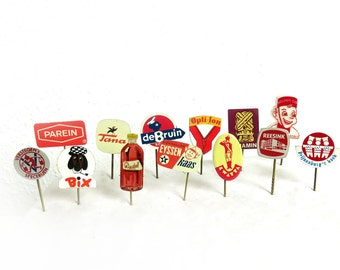 13 Vintage 1960s Tin Advertising Stick Pins - Food Brands Grocery Store Lot - Red Riedel Soda Cookies Piccolo Cheese Metal Lapel Badge