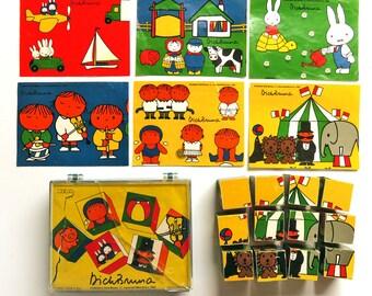 Vintage Dick Bruna Miffy Wooden Blocks, Picture Cube Puzzle, Retro Hema Nijntje, Miffy Prints, Primary Colors Nursery Art Baby Room Decor