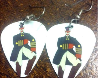 """Guitar pick earrings made with the Beatles """"Yellow Submarine"""" picks"""