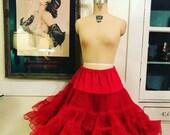Fall sale 1950s crinoline red crinoline size medium vintage crinoline 50s petticoat full crinoline dance costume