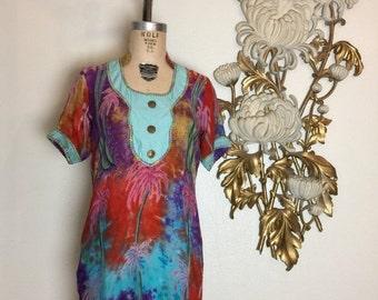 Fall sale Vintage tunic tropical blouse size medium vintage kurti novelty tunnic 34 aqua tunic