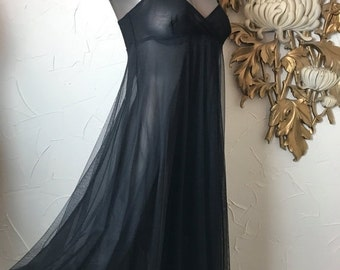 Fall sale 1990s dress Victoria's Secret black dress sheer nightgown size small 32 bust black nightgown full nightgown