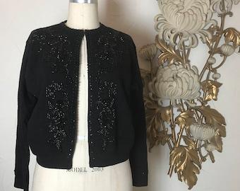 RESERVED 1950s cardigan black cardigan vintage cardigan size medium vintage sweater black sweater 1950s sweater