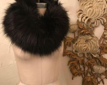 Faux fur collar black fur collar vintage collar faux fur scarf black faux fur vegan fur vintage scarf