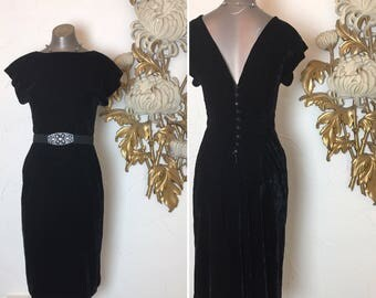 1980s dress velvet dress low back dress size small vintage dress 80s does the 40s maggie london 26 waist