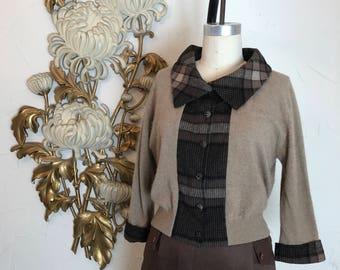 1950s cardigan schiaparelli sweater cashmere sweater plaid sweater size medium vintage cardigan 36 bust