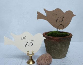 Dove Table Numbers, White Bird Table Cards, Wedding Table Cards, Kraft Love Bird Numbers, Wedding Table Numbers