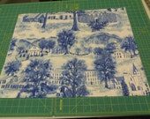 "New Grandma Moses ""Williamstown Toile"" Very Rare Vintage Bark cloth fabric sewbuzyb"
