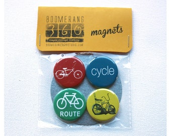 Bike Magnet Pack Set of 4 - 1.25 Inch Bicycle Fridge Magnets