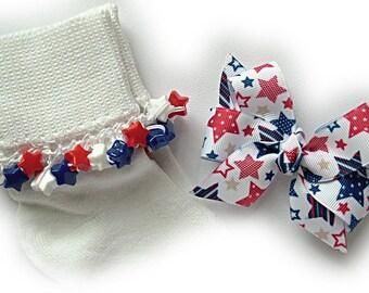 Kathy's Beaded Socks - Americana Stars Socks and Hairbow, girls socks, beaded socks, red and blue socks, star socks, patriotic socks