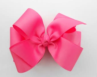 Basic Solid, Hair Bow, Design Bows, School kids, Classic Colors, 5 inch hairbow, Monogram, Monogrammed, Clippie, Grosgrain Ribbon, Big Large