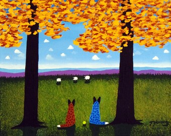 Red Blue Australian Cattle Dog LARGE Art PRINT Todd Young painting TOGETHER