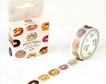 Donut Washi Tape, Doughnut Washi Tape, Illustrated Donuts, Donut Drawing Tape, Scrapbooking Tape, 1 Roll Washi Tape, Kawaii Washi Tape