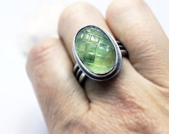 Carved prehnite sterling silver ring size 8 protective stone