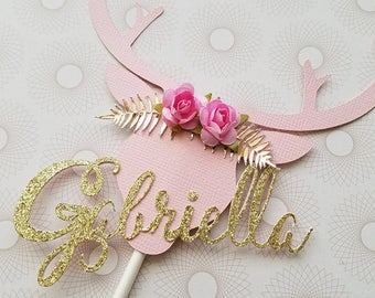 Floral Antlers Deer Head Personalized With Name - Deer Antlers Baby Shower Cake Decor- THE ORIGINAL Boho Baby Cake topper BOHO Centerpiece