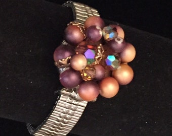 Artisan Handmade Watch Band Bracelet with Vintage Faux Grape Colored Pearl & AB Beaded Earring
