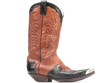 Western Cowboy Boot Embroidery 80s Steel Cap Toe Vintage Leather Cuban Heel Distressed  Brown Mezcalero Southwest Pointed US 8 5 Uk 8 Eu 42