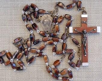 Vintage Lourdes French Rosary Tortoiseshell Glass Beads