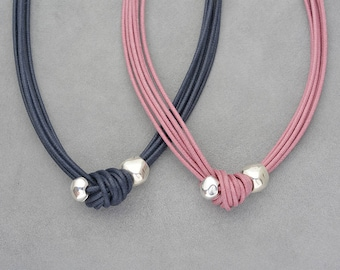Matching sisters necklaces, Two sisters gift, Cord knot necklace, Short statement summer multistrand, Navy blue, Dusty rose, Silver plated