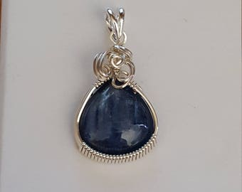 Sterling Silver Deep Blue Kyanite Wire Wrapped Pendant by Sapphireskies Designs