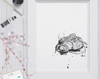 Inky Camera | DIGITAL ART PRINT in high quality pdf & jpg from hand-drawn illustration | Printable Original Modern Artwork For Home