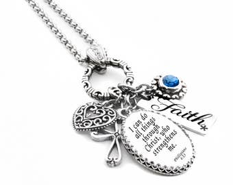 Personalized Scripture - Silver Christian Jewelry - Religious Necklace - Spiritual Necklace - Scripture Necklace - Personalized Necklace
