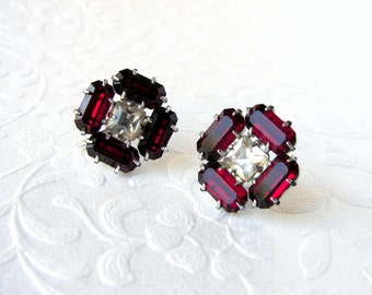 Sparkly Red Rhinestone Screw Back Earrings Vintage Costume Jewelry Baguettes Square Formal Evening Bridal Wedding Prom Pageant Ballroom