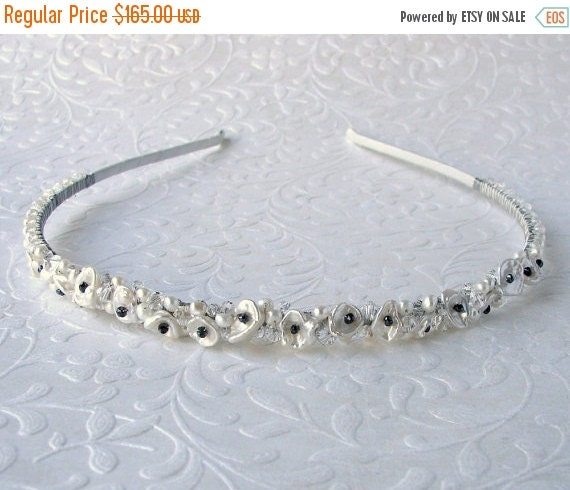 20% SALE Black Diamond Headband Keshi Cornflake Pearl Diadem Jeweled Wedding Hairpiece Formal Bohemian Bridal Headpiece Boho Chic Bride Gems