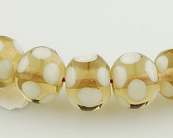 Light Brown Transparent with Polka Dots - Handmade Lampwork Glass Bead Set by Lara