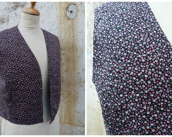 Vintage 1970/70s very light quilted vest printed floral from Austria size S/M/L