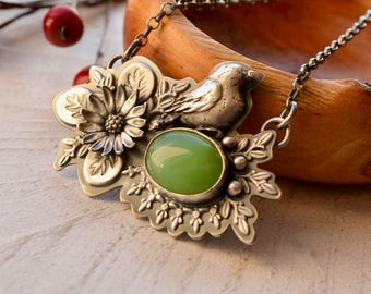 Chrysoprase Necklace, Bird Necklace, Handmade Botanical Silver Necklace, Sunflower Necklace, Ornate Silver Pendant, Flower Jewelry