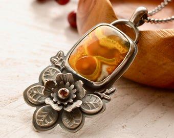 Bumble Bee Jasper Necklace, Yellow Stone Pendant, Nature Inspired Silver Necklace, Botanical Necklace, Flower Jewelry, Metalsmith Jewelry