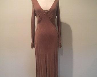 Handmade vintage victorian style silk maxi dress