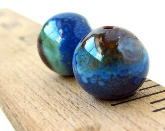 Blue Enamel Round Copper Beads