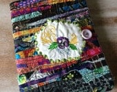 Pansy - COMPOSITION Notebook Book Cover - fabric and embroidery collage