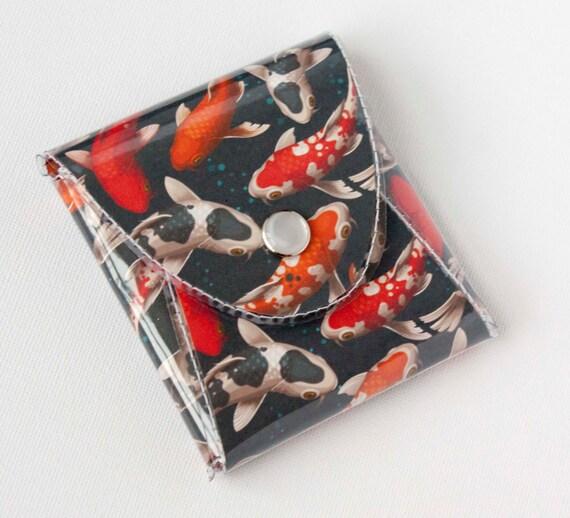 New handmade vinyl coin purse koi fish wallet vegan for Koi fish purse