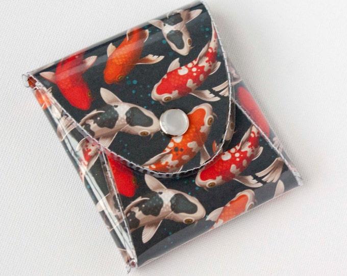 NEW Handmade Vinyl Coin Purse - Koi Fish / wallet, vegan, change, snap, small, little, pocket wallet, gift, fish, koi, men's