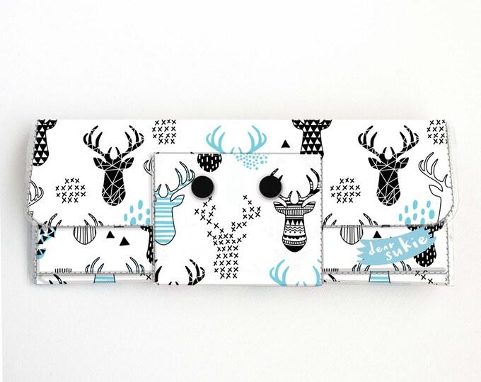 Vinyl Long Wallet - Deer / geometric, vegan, pretty, large wallet, clutch, card case, vinyl wallet, handmade, blue, woodland, animal