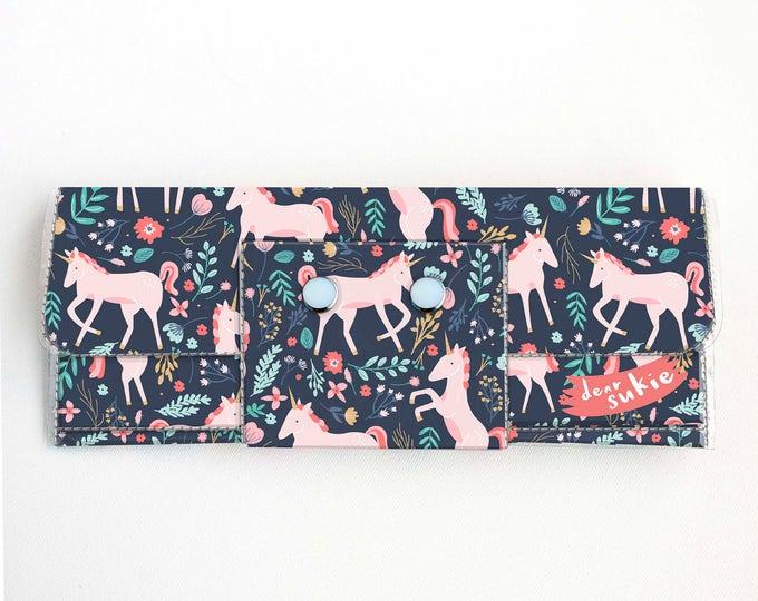 Vinyl Long Wallet - Unicorn Forest / vegan, magical, large wallet, clutch, card case, vinyl wallet, handmade, floral, cute, kids, childrens