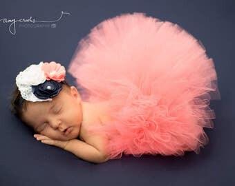 newborn tutu, baby tutu, newborn photography prop, coral tutu, pink tutu, newborn tutu, girls tutu, birthday tutu, cake smash tutu