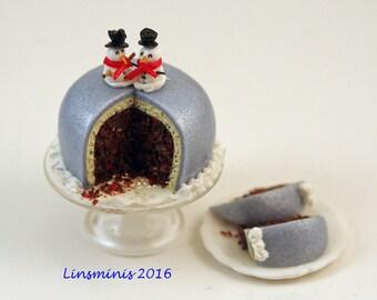 12th scale handmade Snowmen Christmas Cake