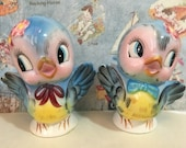 Vintage Antique Mr and Mrs Bluebird Salt and Pepper Shakers Lefton Collectibles or Wedding Cake Toppers