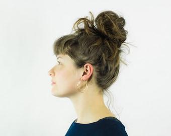 Double Hoop Crescent Moon Earrings