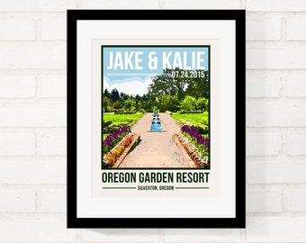 Garden Wedding, Park Wedding, Resort Wedding, Wedding Gift for Couple, Custom Location Poster, First Anniversary Gift, Honeymoon Keepsake