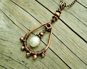 Wrapped Pearl Necklace - wire wrapped copper and white freshwater pearl pendant necklace