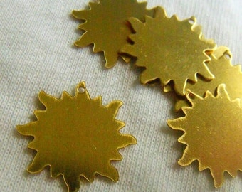 ON SALE 18% off Good Day Sunshine Small Brass Sun Charms or Stamp Blanks 20mm 6 Pcs